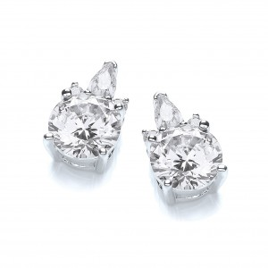 Rhodium Plated Glamour Cluster Earrings