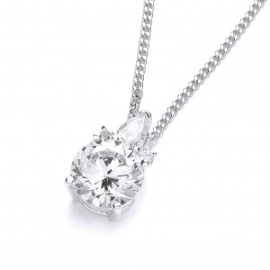 Rhodium Plated Glamour Cluster Pendant