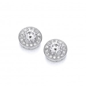 Rhodium Plated Vintage Inspired Button Earrings