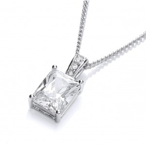 Rhodium Plated Simple Baguette Pendant