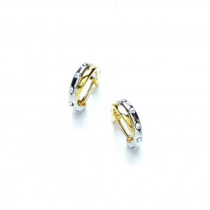 Two Tone Crystal Hoop Earrings