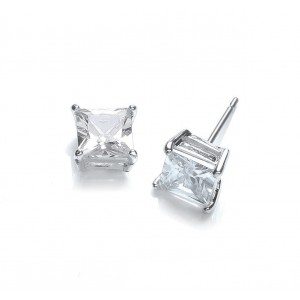 Silver Plated Princess-Cut Cubic Zirconia Stud Earrings