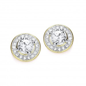 Round Clear CZ Crystal Stud Earrings