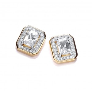 Rectangular Clear CZ Crystal Stud Earrings