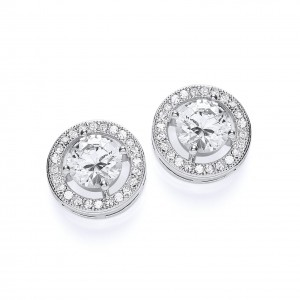 Rhodium & Clear CZ Crystal Roulette Stud Earrings