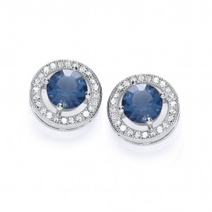 Rhodium & Sapphire Roulette Stud Earrings