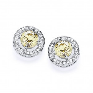 Rhodium & Canary CZ Roulette Stud Earrings