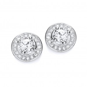 Rhodium & Clear CZ Crystal Round Stud Earrings