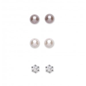 Rhodium Plated Clear Crystal / Pearl Trio Stud Earring Set