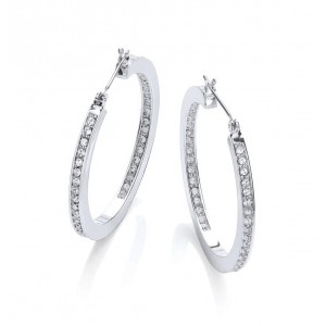 Silver Plated Clear Crystal Hoop Earrings