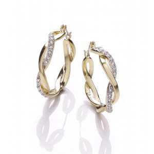 18k Gold and Rhodium Plated Clear Crystal Twist Creole Earrings