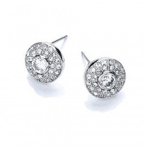 Rhodium Plated Clear CZ & Crystal Round Stud Earrings