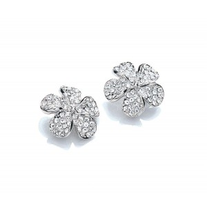 Rhodium Plated Clear Crystal Flower Stud Earrings