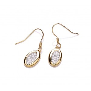 Gold Plated Oval Sparkle Earrings