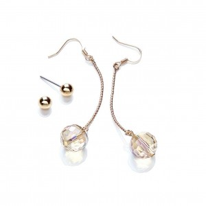Duo Glass Drop & Gold Stud Earring Set