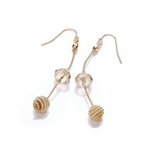 Gold Plated Glass Long Drop Earrings