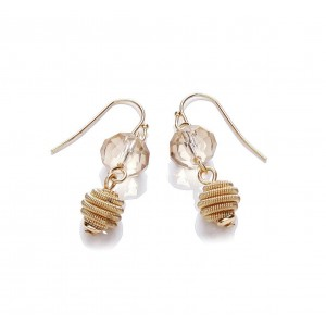 Gold Plated Glass Short Drop Earrings