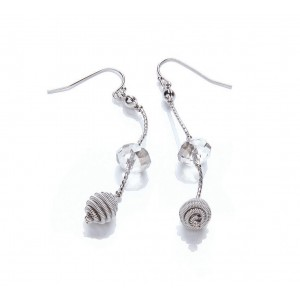 Rhodium Long Glass Snail Drop Earrings