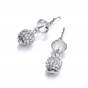 Clear Sparkle Snowball Duo Drop Earrings