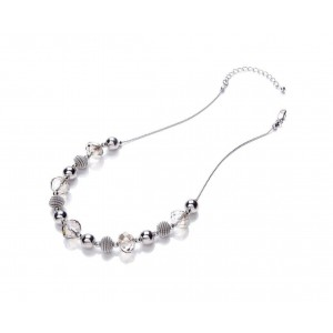 Rhodium Glass Mixed Necklace