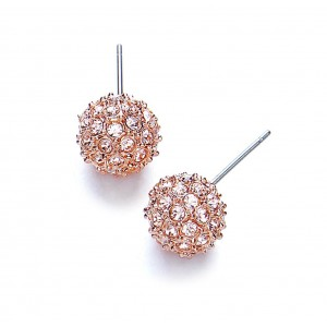 Rose Gold Plated Snowball Stud Earrings