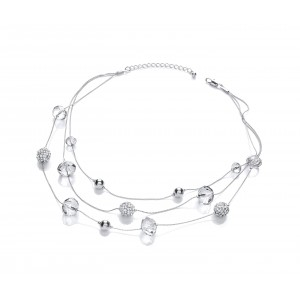 Clear Sparkle Snowball Multi-Row Necklace