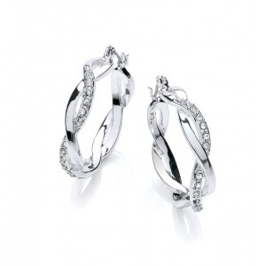 Silver Plated Clear Crystal Twist Hoop Earrings