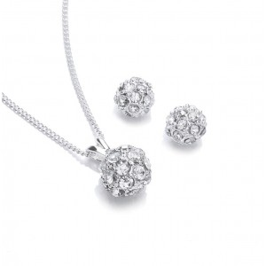 Silver Plated Clear Crystal Snowball Pendant and Earring Set