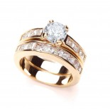 18k Gold Plated Clear Cubic Zirconia Duo Ring Set
