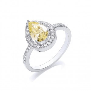 Rhodium Plated Delicate Pear Cocktail Ring
