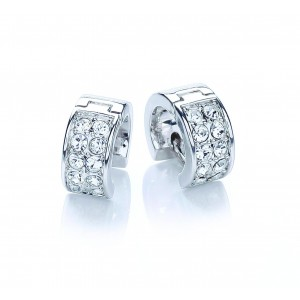 Rhodium Plated Chunky Huggie Earrings