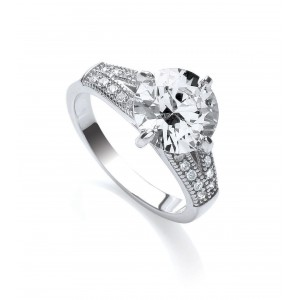 Rhodium Plated Sparkle Solitaire Ring