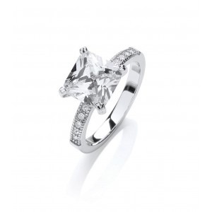 Rhodium Plated Princess-Cut Ring