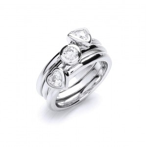 Rhodium Plated 3 Piece Stacker Ring Set