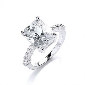 Rhodium Plated Bling Rocks Ring