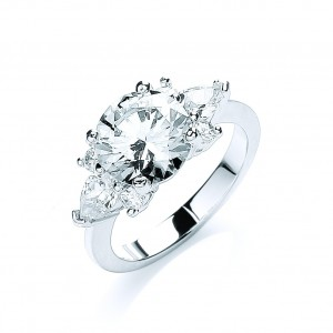 Rhodium Plated Glamour Cluster Ring