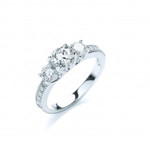 Rhodium Plated Brilliant-Cut Trilogy Ring