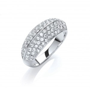 Rhodium Plated Simple Pave Dome Ring