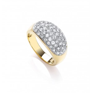 Two Tone Slim Pave Dome Ring