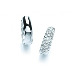 Rhodium Plated Huggie Hoop Earrings