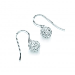 Rhodium Plated Snowball Drop Earrings