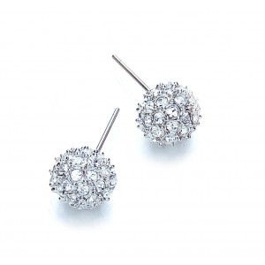 Rhodium Plated Snowball Stud Earrings