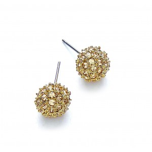 Gold Plated Snowball Stud Earrings