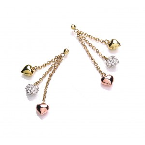 Tri Colour Delicate Drop Heart Earrings