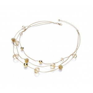 Gold Plated Glass Multi Strand Necklace