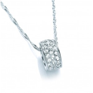 Rhodium Plated Oval Charm Pendant