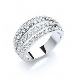 Rhodium Plated Clear Crystal 4 Row Band Ring