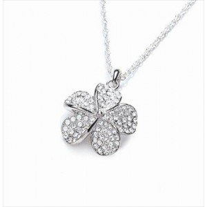 Rhodium Plated Clear Crystal Flower Pendant