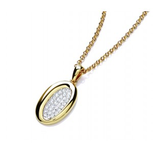 Gold Plated Oval Sparkle Necklace