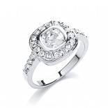 Rhodium Plated Clear CZ & Crystal Cushion-Cut Ring